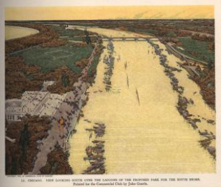 "Jules Guerin, ""View Looking South Over the Lagoons of the Proposed Park for the South Shore,"" from Plan of Chicago (Chicago: The Commercial Club, 1909), pl. LI. Chicago History Museum, ICHi-68614."