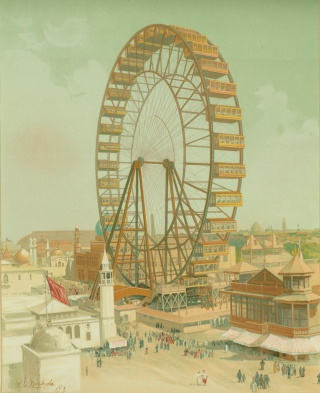 Ferris Wheel, Midway Plaisance, facsimile watercolor by H.D Nichols
