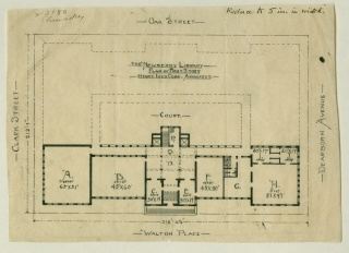 """After his """"surrender"""" to Newberry Librarian William Frederick Poole, architect Henry Ives Cobb drew up a revised plan for the library's first floor that included the three additional wings (sketched out in dashed lines) and the courtyard envisioned by Poole."""