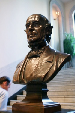 A bust of Walter L. Newberry greets arriving visitors.