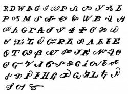 Chief Charles Hicks' syllabary, 1825