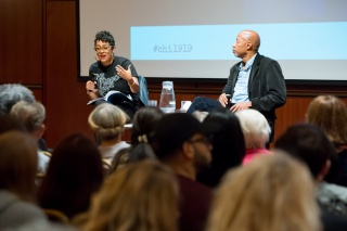 """Scholars Eve Ewing and Ken Warren discuss """"The Language of Bronzeville,"""" one of the 11 public programs held in 2019 as part of Chicago 1919: Confronting the Race Riots."""