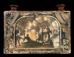 """""""The Myriopticon: Historic Panorama: The Rebellion,"""" a toy theater containing 22 colored illustrations of the U.S. Civil War and one of the first products created by American manufacturer Milton Bradley"""