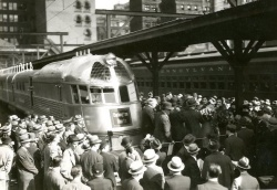 A Burlington Zephyr in a station in Philadelphia. 1934. CB&Q A-5-3 Box 79, Folder 3824.