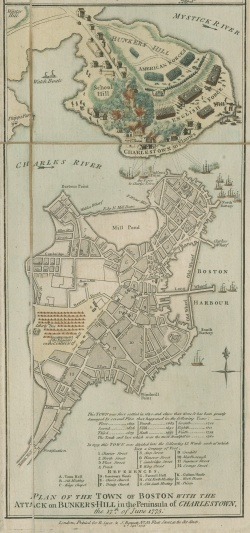 "Inset map: ""Plan of the Town of Boston with the Attack on Bunkers-Hill in the Peninsula of Charlestown."" Ayer 133 .S46 1775"