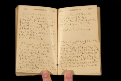 Ferdinand Kilbourne's 1864 diary, written in Pitman shorthand.  Vault Case MS 10032