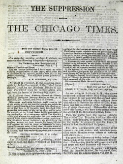 The Suppression of the Chicago Times, circa 1863. Case lower case a 6 .162