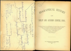 Title page, with annotations, of a biographical history for Shelby and Audubon Counties, Iowa. folio E 491281 .096