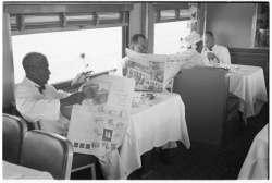 """Morning Zephyr to Minneapolis--Dining Car Between Meals.""  Photograph by Rusell Lee in the Chicago, Burlington, and Quincy Railroad Company Records."