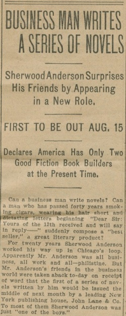 Article from the Chicago News in Sherwood Anderson's scrapbook, circa 1916.