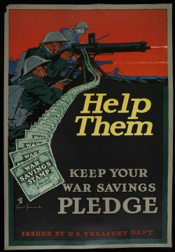 "Poster: ""Help Them...Keep Your War Savings Pledge."" [uncataloged---currently in Collection Services]"