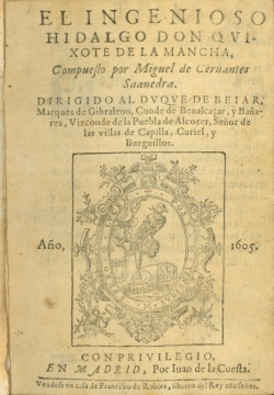 First edition of Don Quixote, 1605, Newberry Case Y722 .C344
