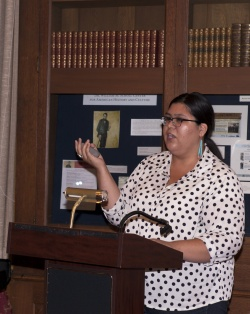 """Kristen Simmons delivering her paper """"How We Talk About Katsinam: Hopi Ethics and Mass Media"""" at the 2014 NCAIS Graduate Student Conference"""