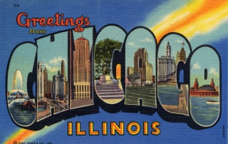 """Greetings from Chicago"" postcard, Curt Teich Postcard Archives Collection, production number 2BH-327."