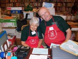 Book Fair volunteers Muriel Underwood and Jay Anderson.