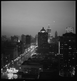 """Chicago: Night View of Michigan Ave."" From the digital collection Daily Life along the CB&Q. Granger 2713."