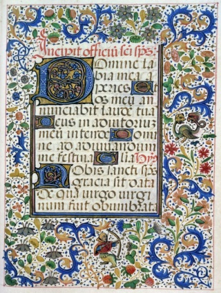 "fol. 79r-83v: ""[rubr.] Incipit officium sancti spiritus [text]."" Short hours of the Holy Spirit. minor blue, magenta, and gold dentelle initials throughout, some with sprigs of border decoration.full border with initials 6 lines high."