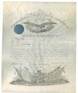 Appointment of Benjamin C. Card by Edwin M. Stanton and Abraham Lincoln. 1861.