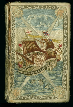 Daniel Defoe. Embroidered binding, on The Farther Adventures of Robinson Crusoe.