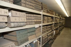Pullman cash journals and books, stored in the Stack building.