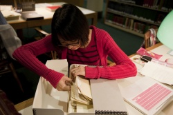 A student works with Pullman materials.