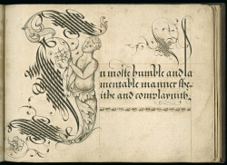 "John Scottowe. Letter ""I"" from ""Calligraphic Alphabet,"" 1592."